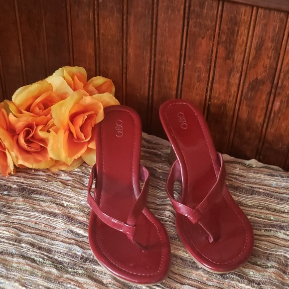 Cato Shoes - Cato ladies maroon wedges